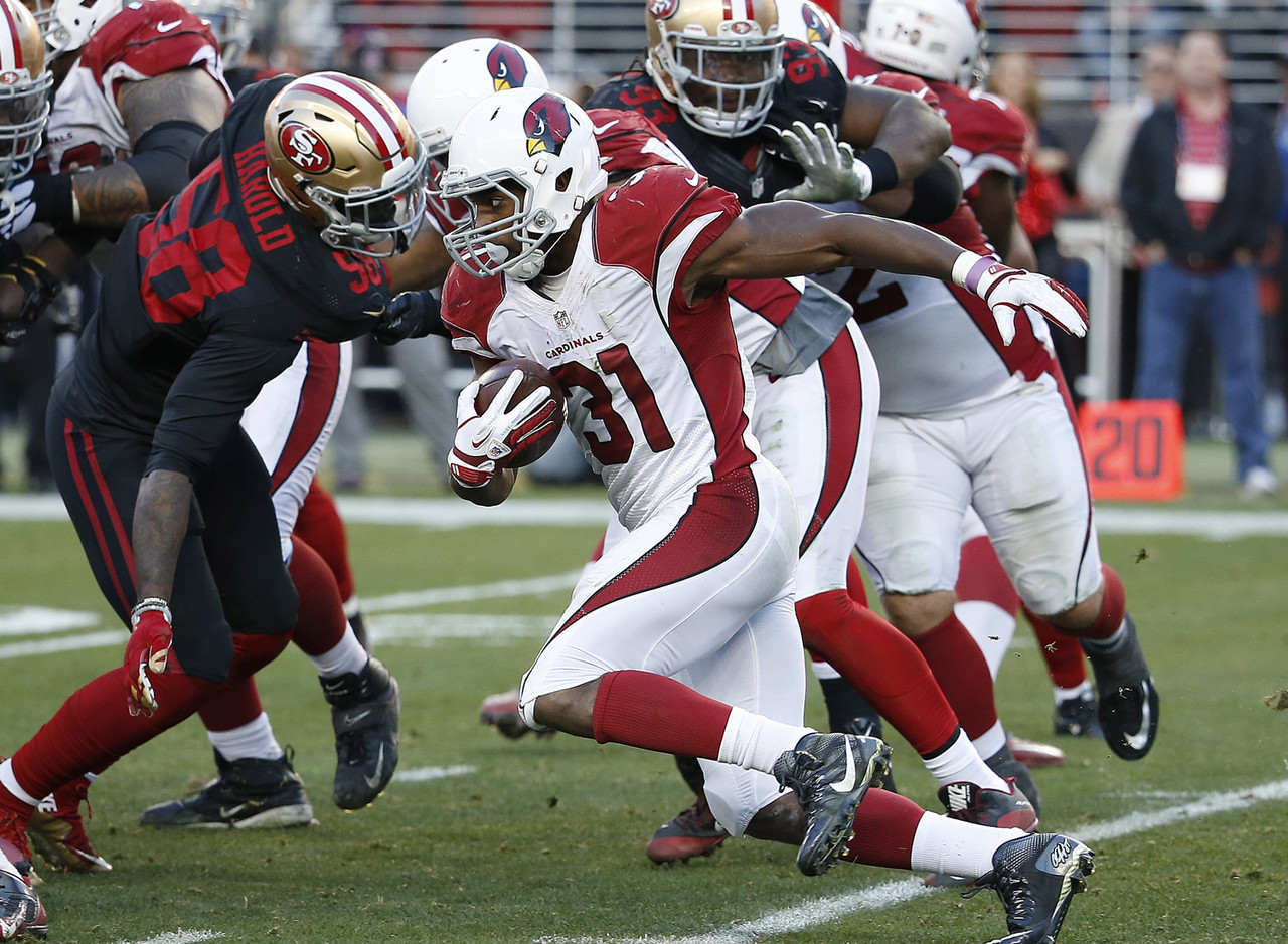 With news coming out on Monday that Chris Johnson suffered a fractured tibia and Andre Ellington is dealing with turf toe, David Johnson rockets to the top of the waiver wire priority list. He saw eight carries against the 49ers, with most of them coming after the veterans went down. Johnson is an explosive athlete who is at his most dangerous when catching passes out of the backfield. Aside from Johnson, the Cardinals have Stepfan Taylor on the roster and Kerwynn Williams on the practice squad. Taylor could see some touches, but Johnson figures to get the bulk of the work against the Rams next week. CJ2K's injury could keep him out an extended period, and Ellignton's is of the lingering nature, meaning the rookie out of Northern Iowa could be in line for a massive workload down the stretch. If Johnson is on the waiver wire in your league this week, do everything you can to get him. FAAB Suggestion: 90-100 percent.