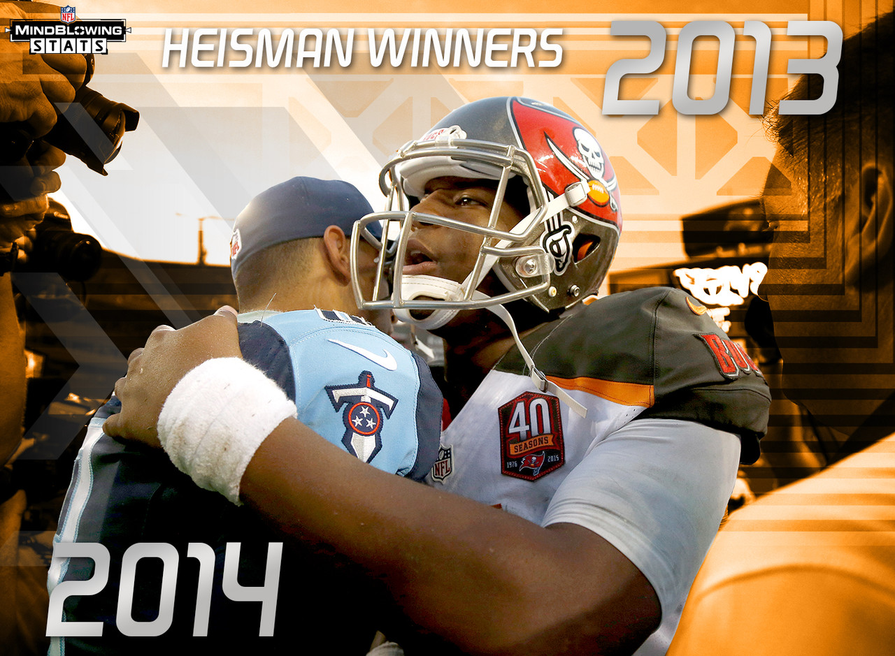 In Week 1, the 2013 Heisman Trophy winner -- Jameis Winston -- and 2014 Heisman winner -- Marcus Mariota -- made their respective NFL debuts against one another. This was the first matchup of the No. 1 and No. 2 overall picks both starting at quarterback in the first week of their rookie seasons. In Week 2, Mariota faced 2012 Heisman winner Johnny Manziel.  Mariota became the first Heisman winning quarterback to ever face opposing Heisman winning quarterbacks in consecutive starts, much less his first two career starts. <br><br> Winston, meanwhile, is one of 20 Heisman winners to be selected with the No. 1 overall pick in the NFL draft.