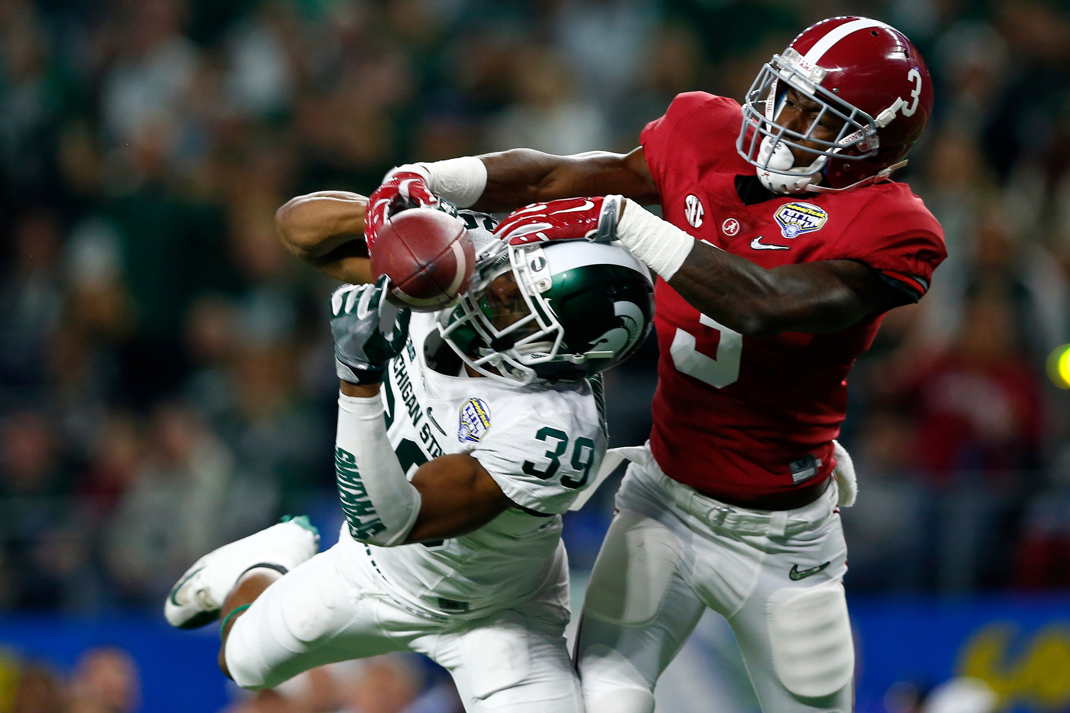 Michigan State Spartans cornerback Jermaine Edmondson (39) breaks up a pass intended for Alabama Crimson Tide wide receiver Calvin Ridley (3) during the Cotton Bowl NCAA college football playoff semifinal game on Thursday, Dec. 31, 2015, in Arlington, Texas. (Aaron M. Sprecher/NFL)