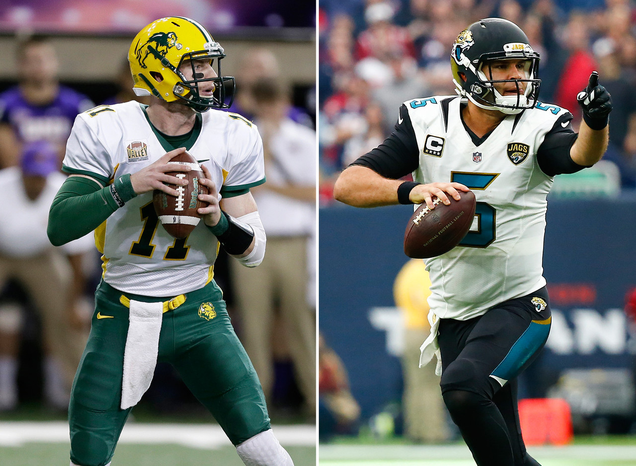 Wentz and Bortles both have big frames and live arms, and both are good athletes. They even have similar personalities: both laid-back with a quiet confidence. Neither player came from a powerhouse program. Yes, Bortles enjoyed success at UCF, winning a Fiesta Bowl, but the Knights obviously aren't viewed among the college elite. With Wentz, there are questions about the level of competition he faced at North Dakota State -- although, like Bortles, he won big at the school. Bortles went third overall in the 2014 NFL Draft, and Wentz has a good shot to go in the top five. The system that Wentz is coming out of will make his transition to the NFL even easier than the one Bortles had.