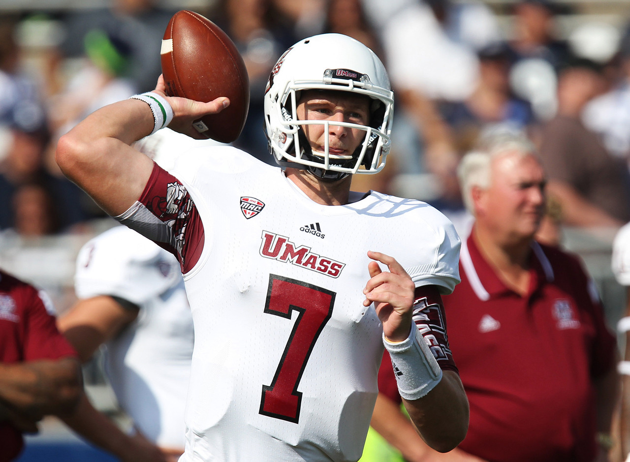 "Our quarterback, Blake Frohnapfel -- pronounced FRO-napple -- spent two years at UMass after leaving Marshall. He's a large human (at least for a quarterback) at 6-foot-6, but he has some issues with turnovers and, as our own Lance Zierlein put it, <a href=""http://www.nfl.com/draft/2016/profiles/blake-frohnapfel?id=2555301"">""stares down targets with white-hot intensity.""</a> His last name means ""happy apple"" in German. I wasn't aware Germans had a word for happy. Good for them."