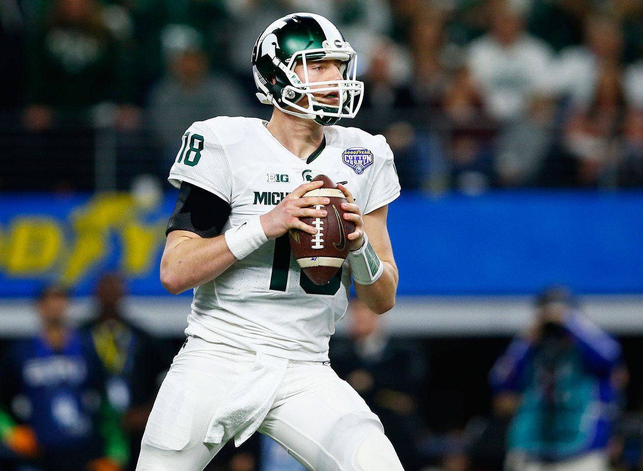 Cook is a tough competitor who led the Spartans to 34 victories (a school record). Opinions are split, however, regarding his ability to lead his team.  He was never voted a team captain at MSU, and opinions are also split about whether that really matters. There's also not a consensus on whether he has the arm strength and accuracy to effectively lead a pro offense. Whether he'll be selected late in the first (Broncos?), the second (Jets? Rams? Cardinals?), or maybe even the third (Cowboys?) is unclear. Remember that teams had second-round grades on former Spartans quarterback Kirk Cousins, and he wasn't picked until the fourth round.