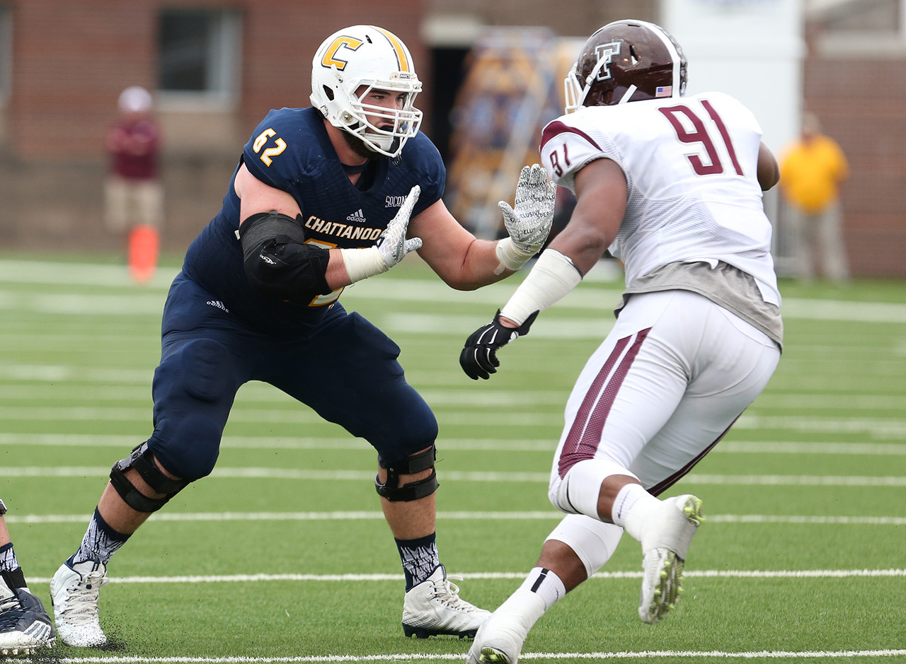 Levin's thick build and ability to move in space give him a chance to start at left or right tackle at the next level. Unlike many tackles coming out of the FCS level, this Moc has the strength to contribute right away. Chattanooga will again have an outstanding rushing attack (242 yards a game in 2015) with Levin leading the way.