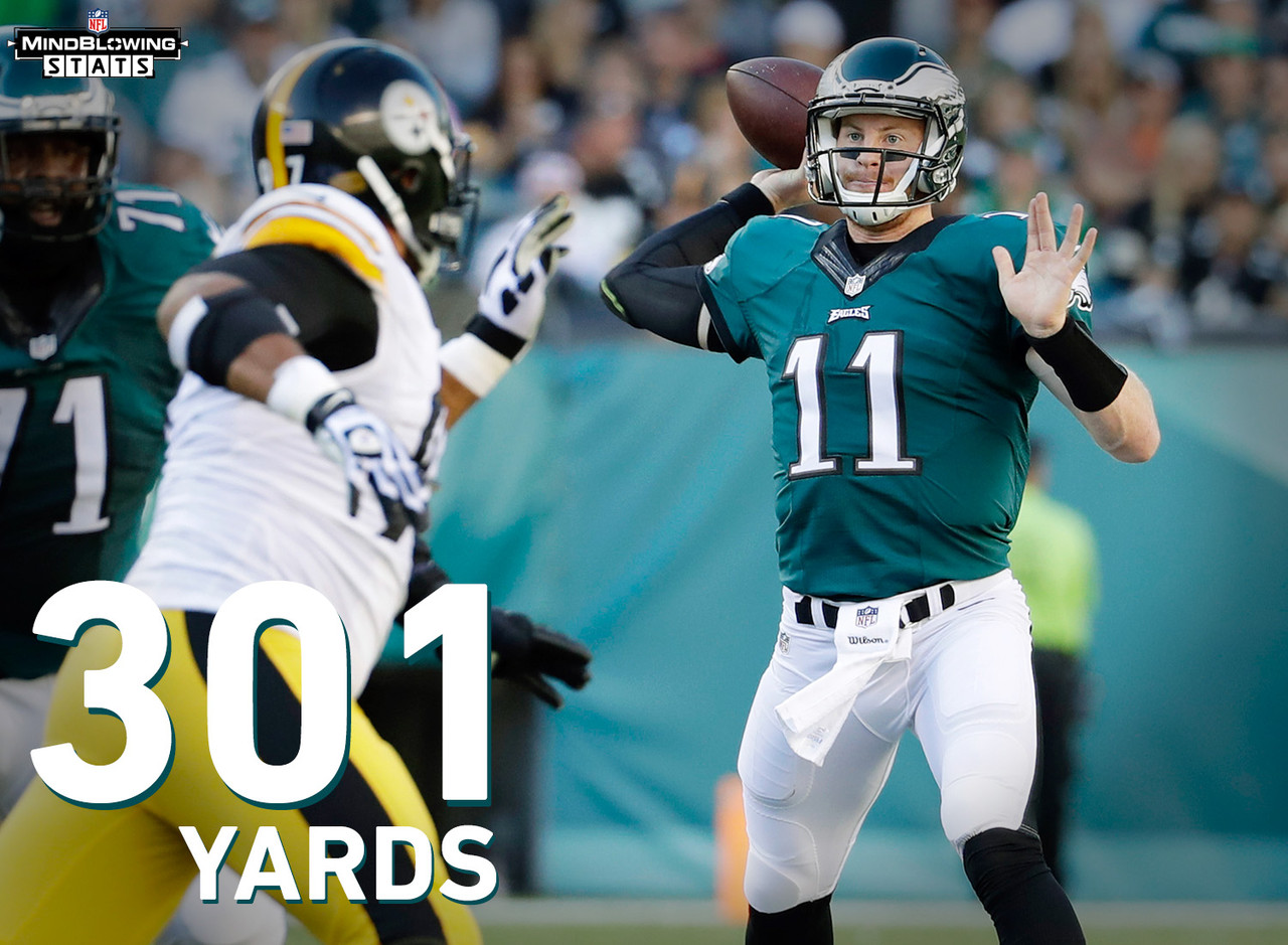 Against the Steelers, Carson Wentz completed 23-31 passes for 301 yards, two touchdowns and a 125.9 passer rating. It was the first 300-yard game of his career.