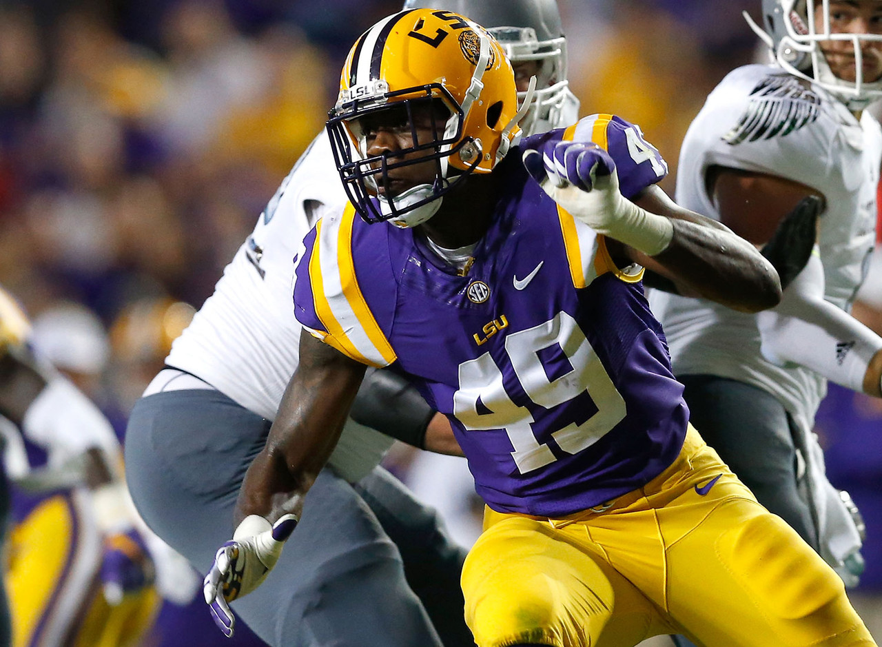 The Tigers' 6-6, 238-pound edge defender will be compared to former LSU end Barkevious Mingo, who never panned out in Cleveland after being selected sixth overall in 2013 (and hasn't done much with New England after it traded for him before the season). Key lacks the lower-body strength scouts would like to see from an elite prospect, but he's able to play with violent hands to shed his man. His get-off is one of the smoothest and quickest in college football. He puts tackles on the defensive after the ball is snapped. If Key continues to build leg strength and show flexibility to make plays on the outside, NFL teams will see great potential as a stand-up rusher.