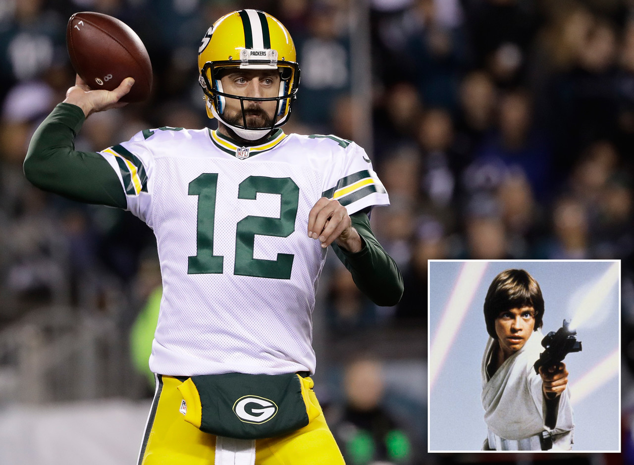 """The golden boy and hero for the Packers is a parallel to the hero in the Star Wars franchise. He was under the wing of a master and developed into the most talented Jedi/QB in the galaxy. Much like Luke in """"The Force Awakens,"""" Rodgers went into hiding at the beginning of the season but has returned strong in the end."""