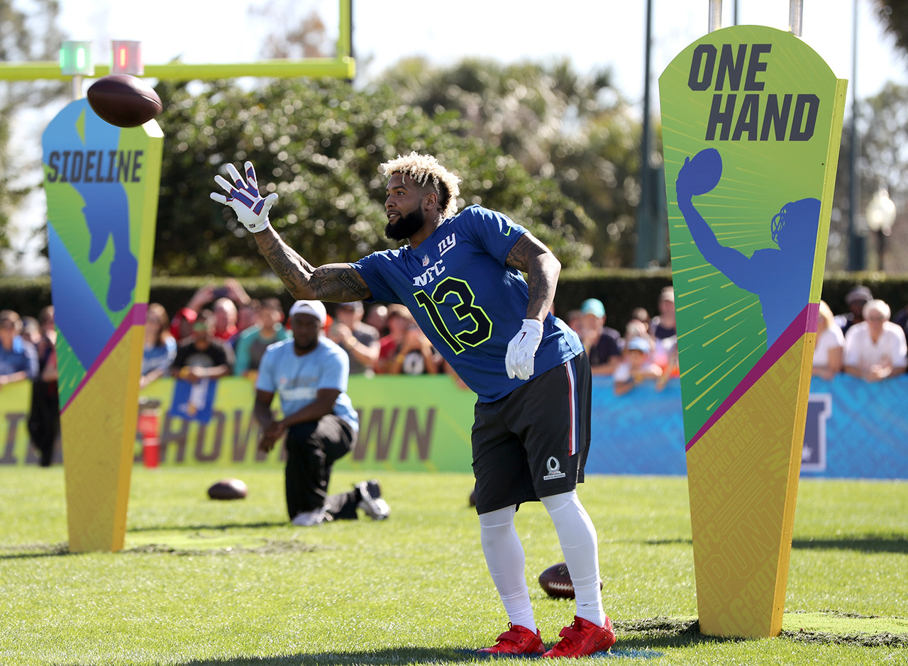 New York Giants wide receiver Odell Beckham (13) of the NFC team makes a catch during the 2017 Pro Bowl Skills Challenge on Wednesday, Jan. 25, 2017 in Lake Buena Vista, Fla.