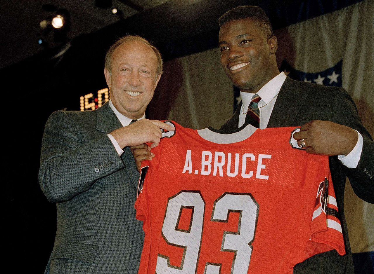 <b>Drafted by:</b> Atlanta Falcons, 1988.<br /> <br /> Bruce was the tall, athletic linebacker every team wanted in 1988. Or, in other words, the Lawrence Taylor they were all trying to get. Fresh off an awful 1987 season, the Falcons thought Bruce would spruce up their defense. His play was worse than that rhyme. After a promising rookie campaign with 70 tackles and six sacks, Bruce could never take the next step ... either toward the quarterback or in his career in Atlanta. Bruce became a situational rusher for the Raiders and ended up logging 11 seasons in the league.
