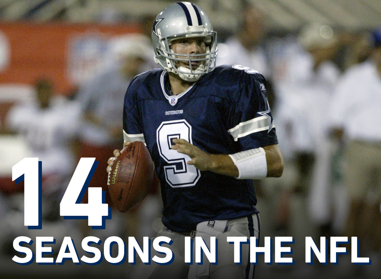 Tony Romo has played 14 seasons in the NFL -- all with the Cowboys -- since signing with Dallas as an undrafted free agent in 2003.