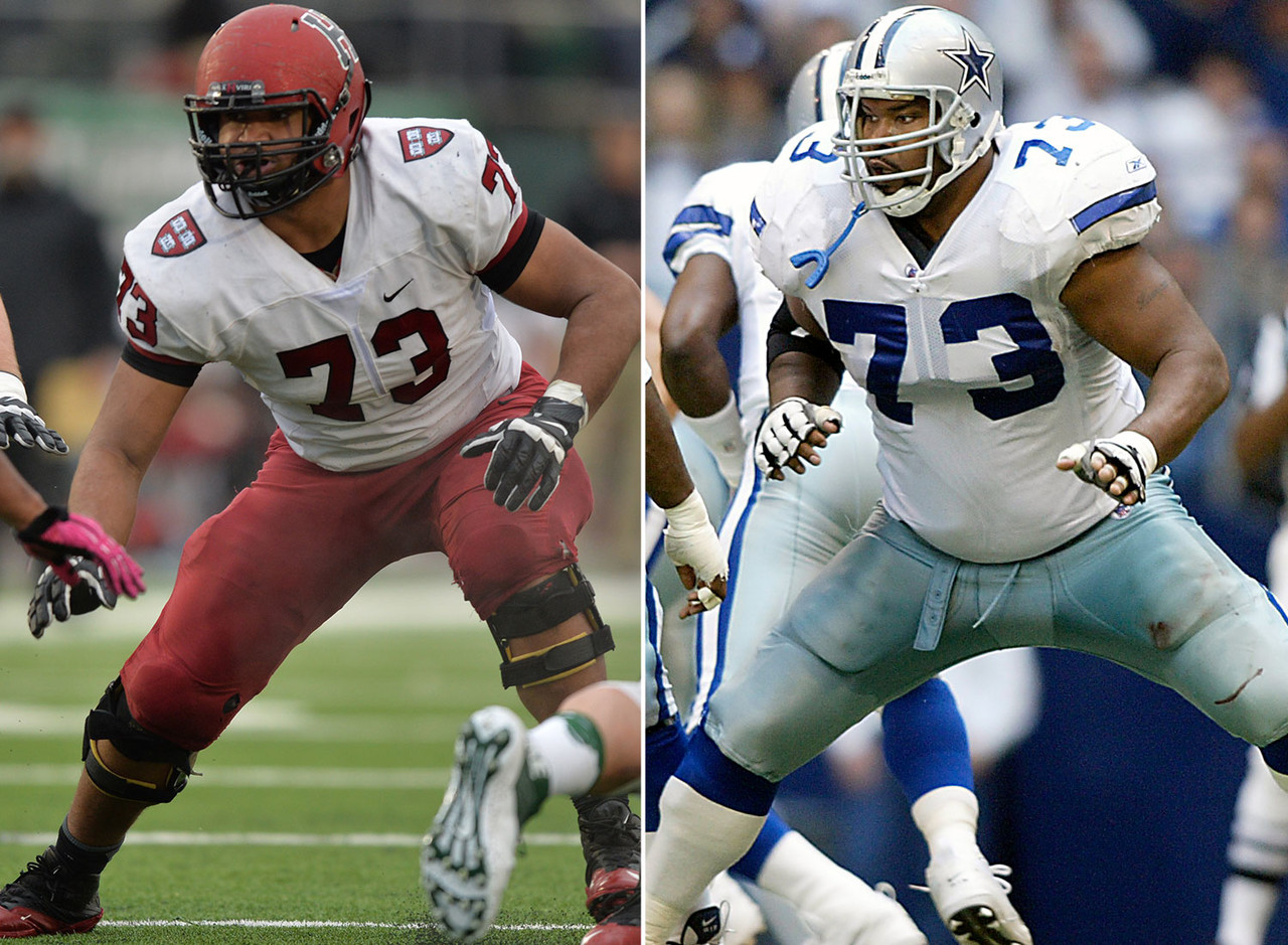 <b>His dad:</b> Larry Allen <br><br> <b>Notable:</b> Larry Allen Jr. is a two-time All-Ivy League offensive guard at Harvard. At 6-foot-4, 285 pounds, he's not quite as big as his father, but is very talented. In fact, an AFC scout told College Football 24/7 that junior could play for any program in the country. Former Dallas Cowboys guard Larry Allen was selected to 11 Pro Bowls, won a Super Bowl title in SBXXX, and was inducted into the Pro Football Hall of Fame in 2013.