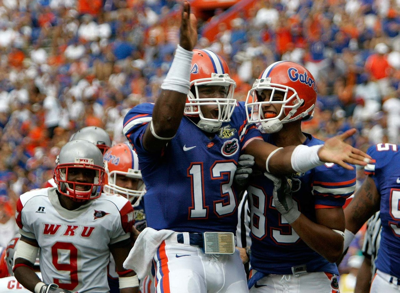 """We didn't see much of Newton The Gator, as the ballyhooed recruit spent two seasons backing up Tim Tebow before washing out of Gainesville following an arrest for possession of a stolen laptop (charges were later dropped) and <a href=""""http://www.nytimes.com/2010/11/10/sports/ncaafootball/10auburn.html"""" target=""""_blank"""">reported academic improprieties</a>. But it's not hard to imagine Newton putting up prolific numbers in Meyer's attack. The 6-foot-5, 245-pounder is one of the most unique talents ever to play quarterback in the NFL. Newton combines a cannon arm with spectacular athleticism and a bruising running style. While his flamboyant demeanor has made him a polarizing star, Newton's trophy chest features the 2011 Offensive Rookie of the Year and 2015 Most Valuable Player. Last year was the statistical low point of Newton's pro career, but the Panthers spent this offseason enhancing his surrounding cast. Will 2017 mark the return of SuperCam?"""