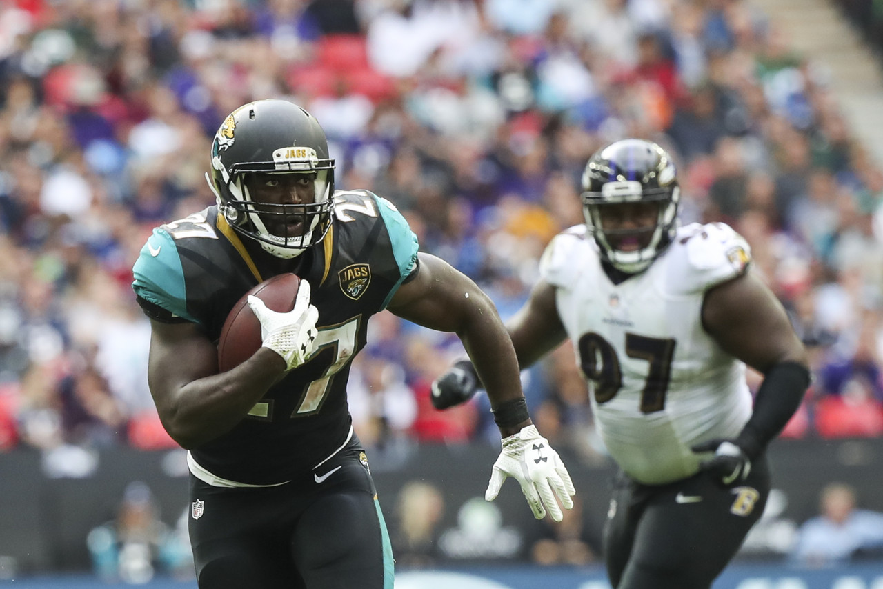 Jacksonville Jaguars running back Leonard Fournette (27) runs the ball during a NFL football game against the Baltimore Ravens, Sunday, Sept. 24, 2017 in London, England.