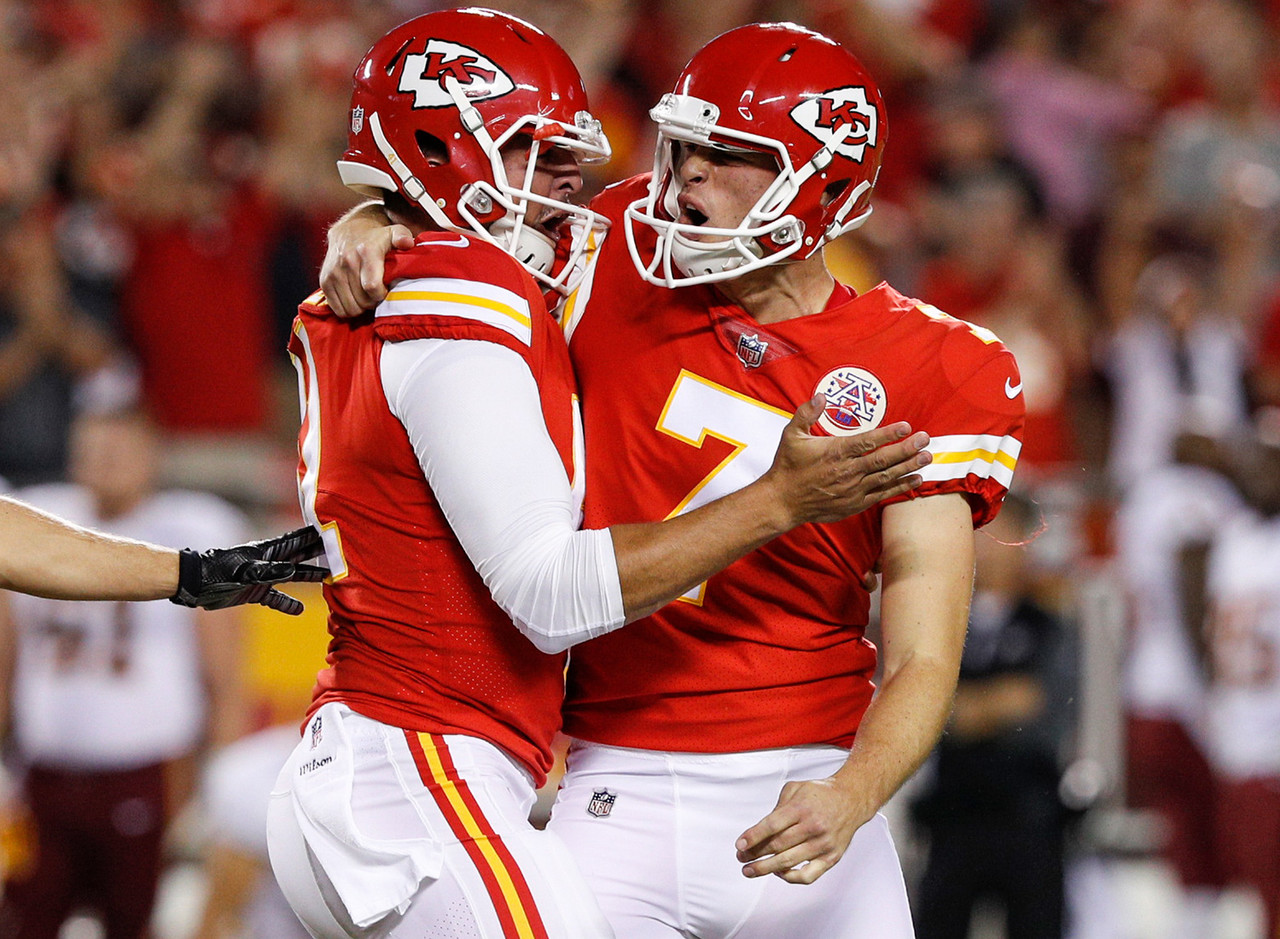 Kansas City Chiefs punter Dustin Colquitt (2) celebrates with Kansas City Chiefs kicker Harrison Butker (7) after his game-winning field goal during an NFL regular season game against the Washington Redskins on Monday, Oct. 2, 2017 in Kansas City, Mo. Kansas City won 29-20.