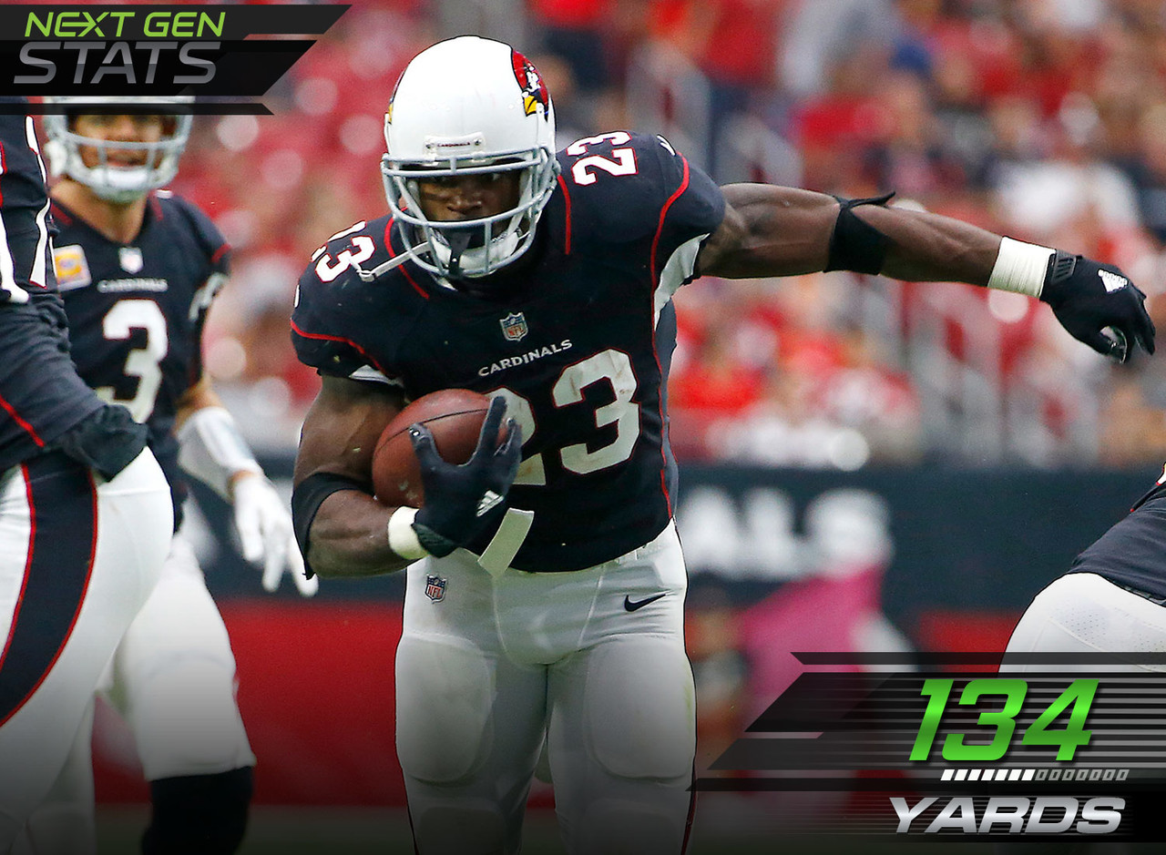 In his first game after being traded to Arizona, Cardinals running back Adrian Peterson had 134 yards on 26 carries for two rushing touchdowns. During Sunday's matchup, Peterson saw most of his carries from single back (22 of his 26 of his carries) where he had a 6.0 yard per carry average and one of his two touchdowns.
