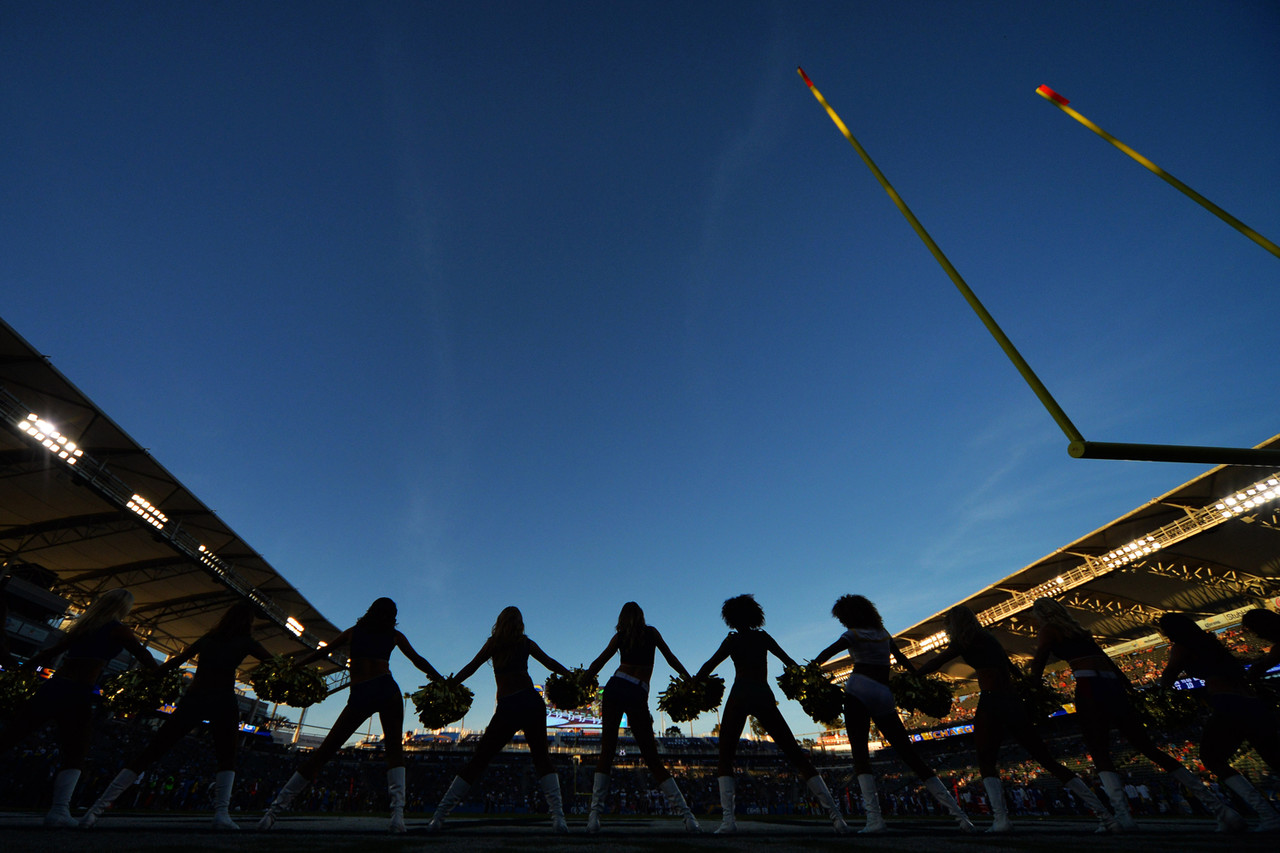 The Los Angeles Charger Girls perform during the fourth quarter against the Buffalo Bills at StubHub Center.