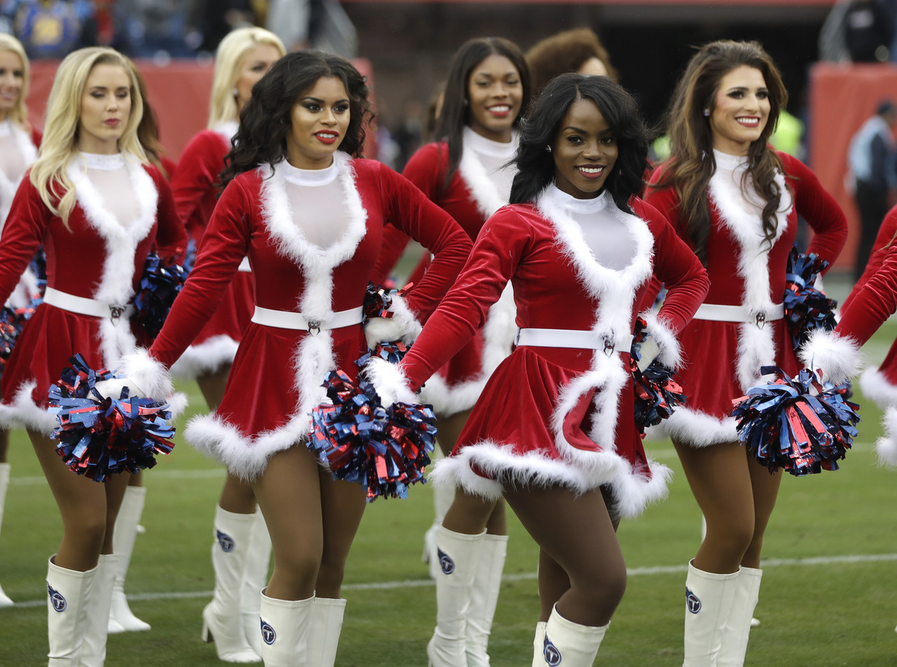 Tennessee Titans cheerleaders perform before an NFL football game between the Titans and the Los Angeles Rams Sunday, Dec. 24, 2017, in Nashville, Tenn.