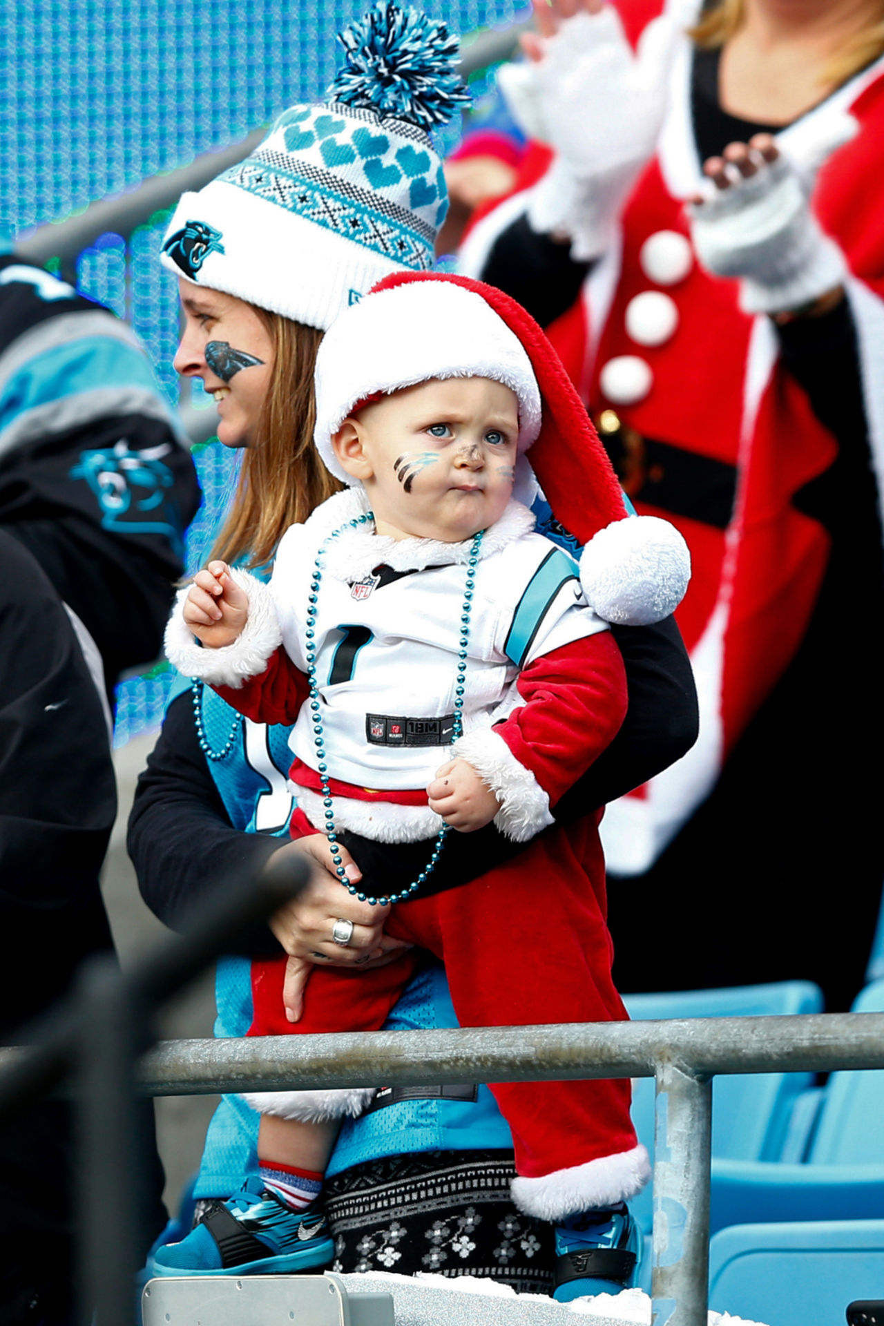 a carolina panthers fan looks on during the second quarter against the tampa bay buccaneers at - Bank Of America Christmas Eve Hours
