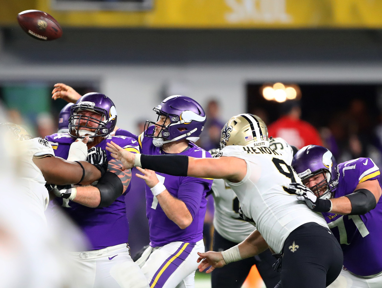 Minnesota Vikings quarterback Case Keenum throws the game winning touchdown.