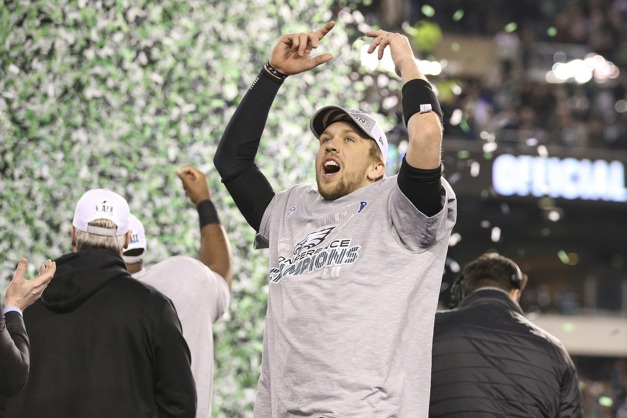 Philadelphia Eagles quarterback Nick Foles (9) celebrates  following the NFL NFC Championship football game against the Minnesota Vikings on Sunday, Jan. 21, 2018, in Philadelphia.