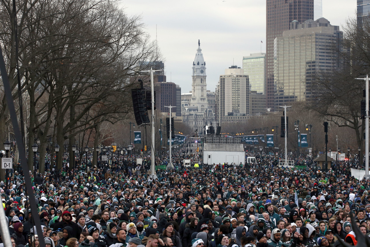 Fans line Benjamin Franklin Parkway before a Super Bowl victory parade for the Philadelphia Eagles football team, Thursday, Feb. 8, 2018, in Philadelphia. The Eagles beat the New England Patriots 41-33 in Super Bowl 52.