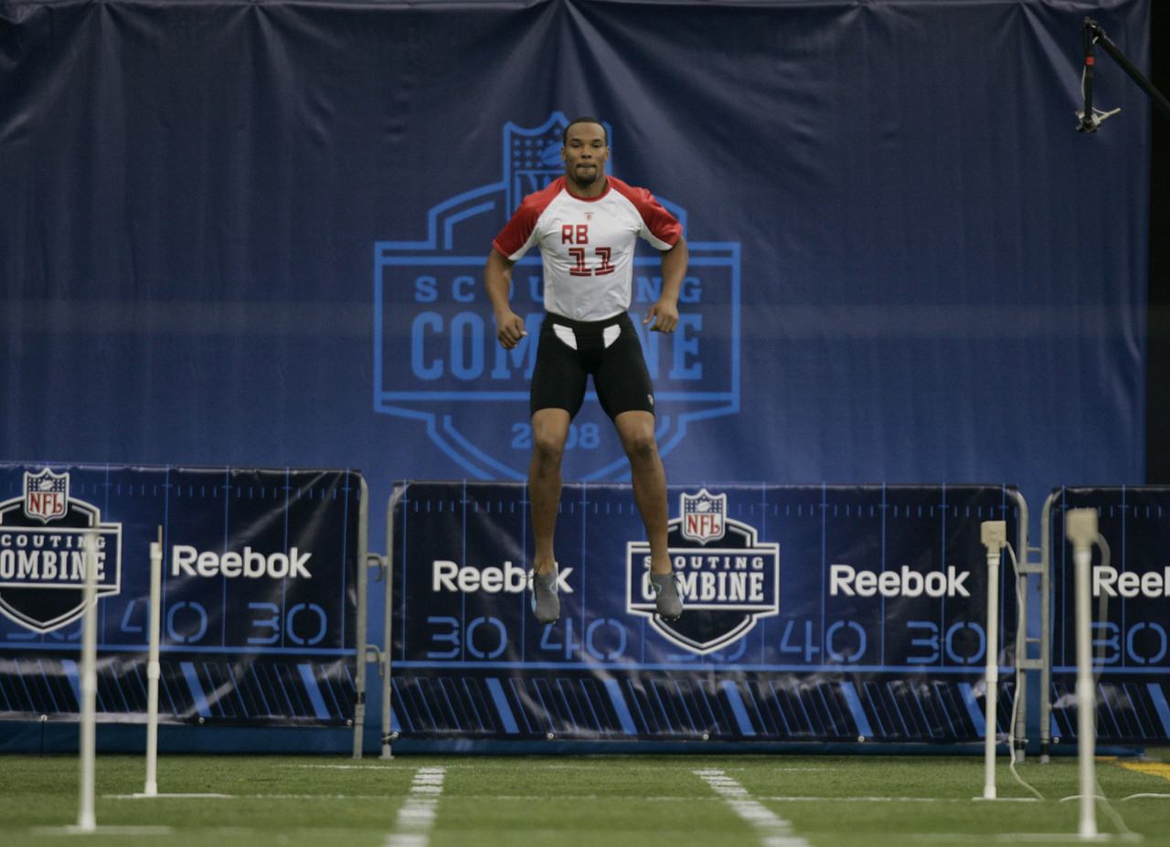 Running back Matt Forte, of Tulane, waits to run the 40-yard dash at the NFL Combine in Indianapolis, Sunday, Feb. 24, 2008.