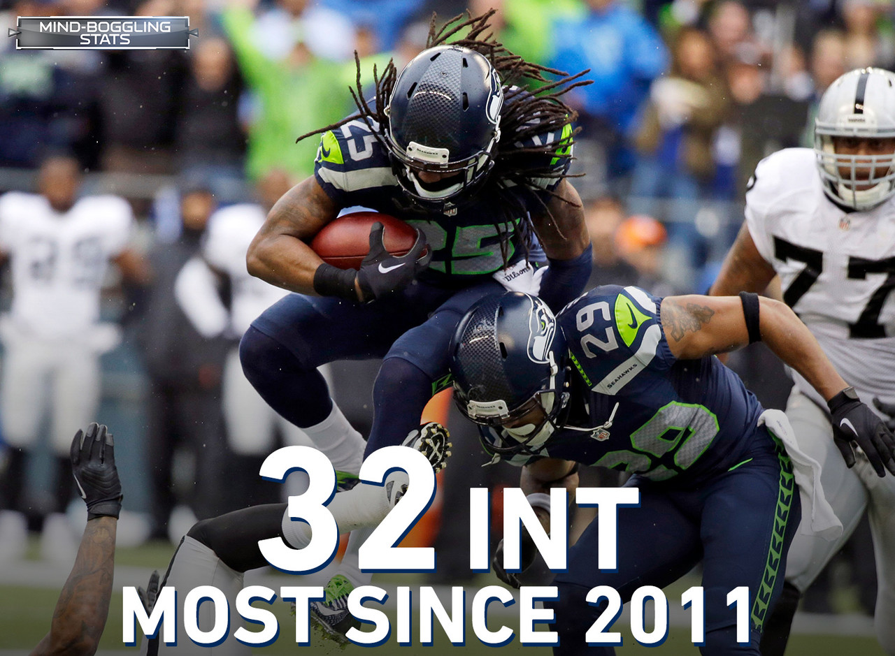 Seattle Seahawks cornerback Richard Sherman leads the NFL with 32 interceptions since entering the league in 2011. He also leads the league in passes defensed (99) and completion percentage allowed (47.4) in that span (min. 300 targets).