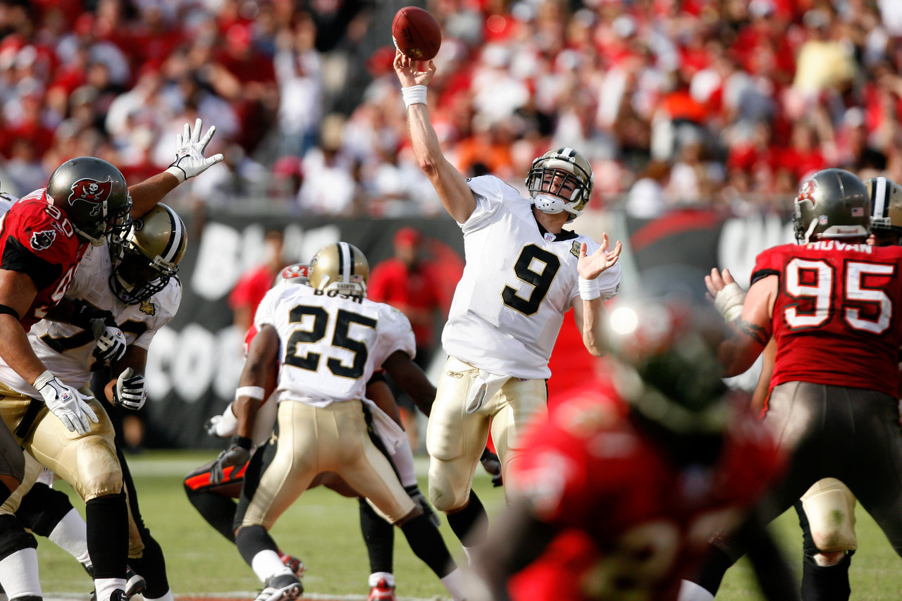 <i><b>Signed with:</b> New Orleans Saints, 2006.</i><br /> <br /> Slam dunk here, Peyton Manning and Kurt Warner notwithstanding. Brees beats out both, as he helped lift the Saints from their post-Katrina depths to an NFC Championship Game appearance in his first year under center in New Orleans. He delivered the first Lombardi Trophy to the city following the 2009 season, while setting a record for completion percentage (70.6) that year and again in 2011 (71.2). After that record was broken by Sam Bradford in 2016 (71.6), Brees re-set it in 2017 (72.0). Along the way, he's posted five of the NFL's nine 5,000-yard campaigns while leading the Saints to the postseason in 2006, 2009, 2010, 2011, 2013 and 2017.