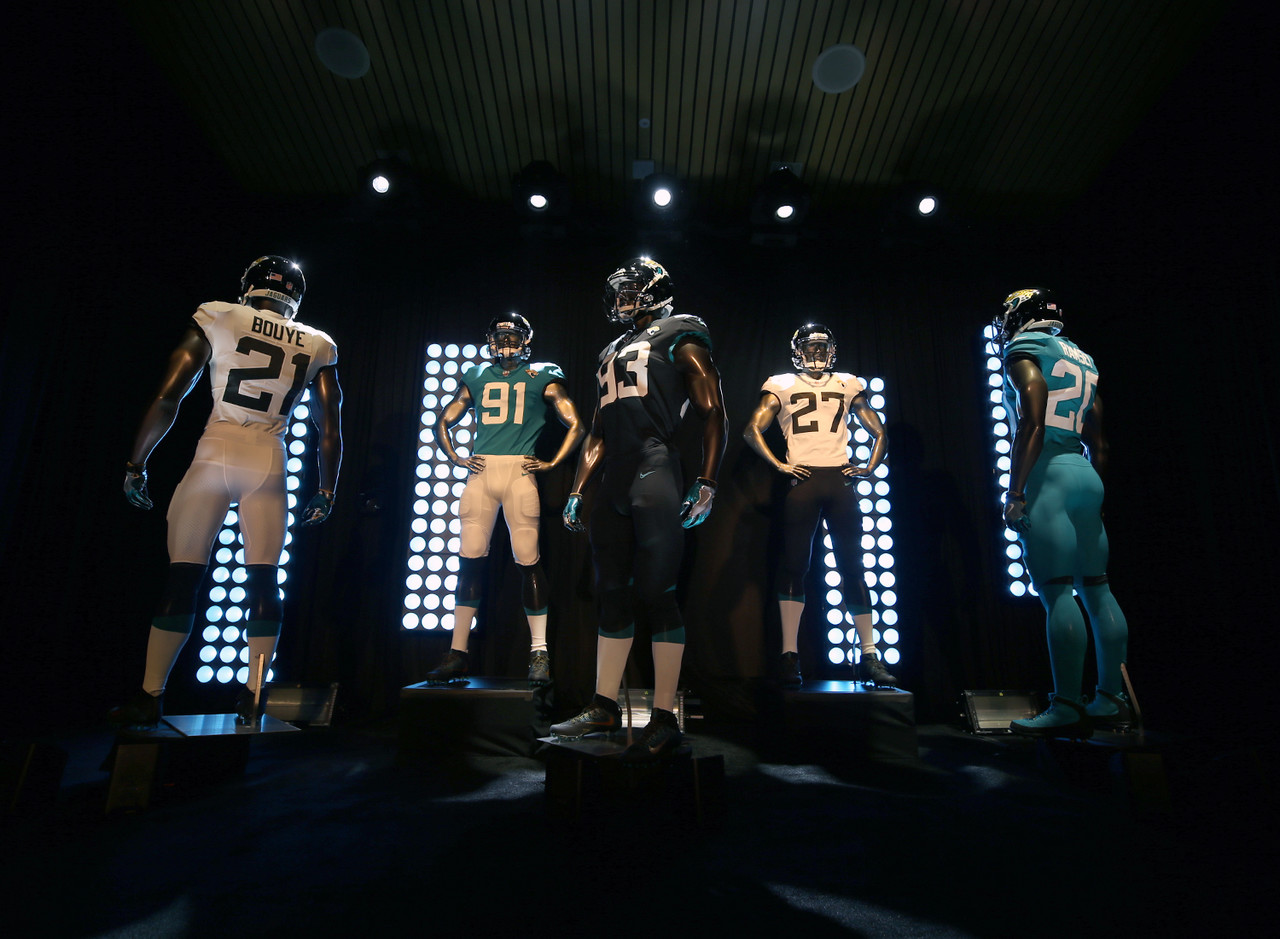 The Jacksonville Jaguars reveal their new uniforms on Thursday, April. 19, 2018 in Jacksonville, Fla.