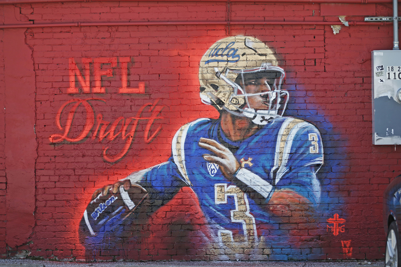A mural of UCLA quarterback Josh Rosen on Friday, March 30, 2018, in Dallas.