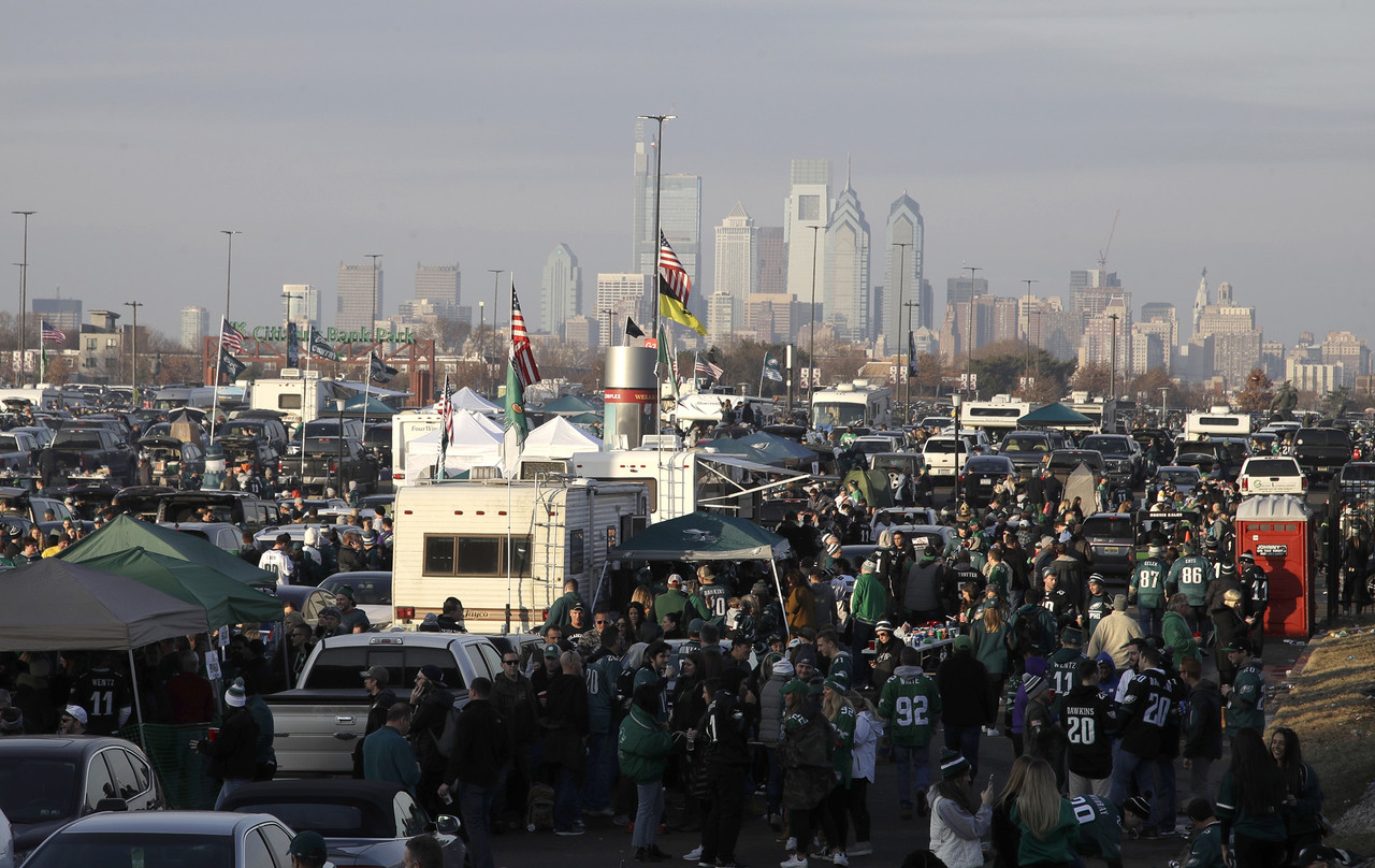 Fans tailgate before the NFL football NFC championship game between the Philadelphia Eagles and the Minnesota Vikings Sunday, Jan. 21, 2018, in Philadelphia.