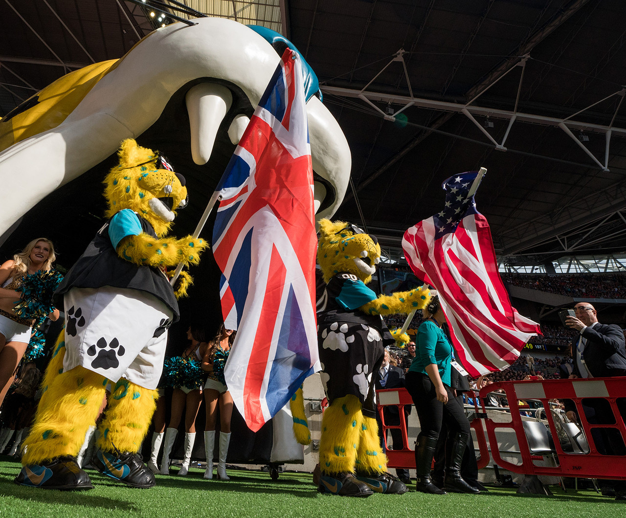 Jacksonville Jaguars mascot Jaxson de Ville leads the Jacksonville Jaguars on to the field prior to an NFL football game against the Baltimore Ravens at Wembley Stadium in London, Sunday Sept. 24, 2017.