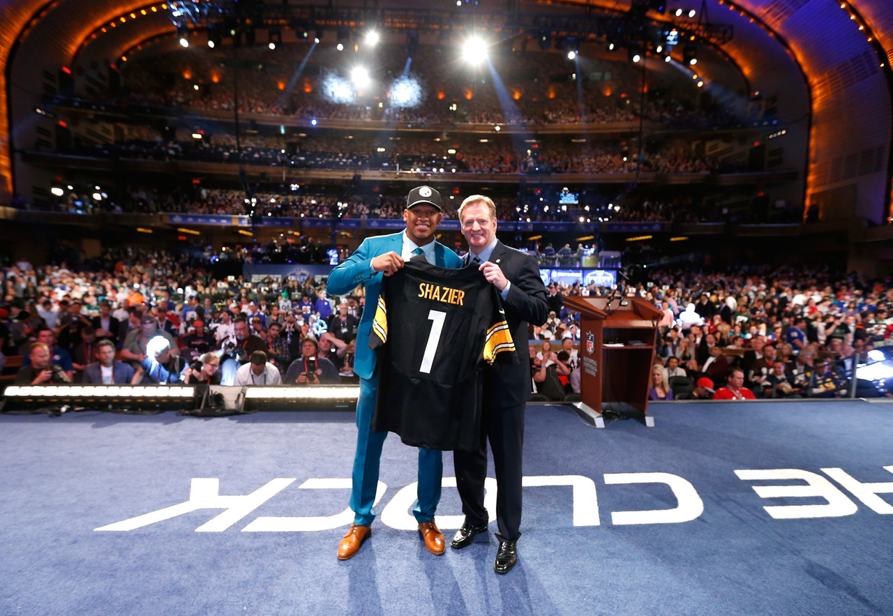 Ryan Shazier poses with NFL Commissioner Roger Goodell after being selected by the Pittsburgh Steelers during the 2014 NFL Draft at Radio City Music Hall on May 8, 2014 in New York, NY.