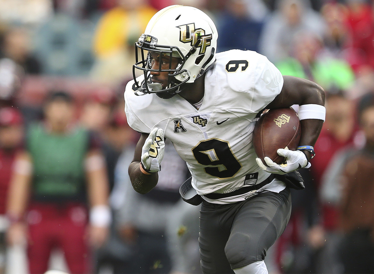 "This holds true from the grammar-school playground all the way to the AAC: When you're a 155-pound running back, you'd better be fast. Killins won't scare anyone with his size, but he's a 5-foot-8 blur in the UCF offense. The Knights have clocked him as fast as 4.39 seconds in the 40-yard dash, and it definitely shows on the field. Killins ran for 790 yards on just 122 carries last year (UCF record 6.47 yards per carry), and <a target=""_blank"" href=""http://www.espn.com/video/clip?id=20874969"">broke a 96-yard TD against Memphis</a>."