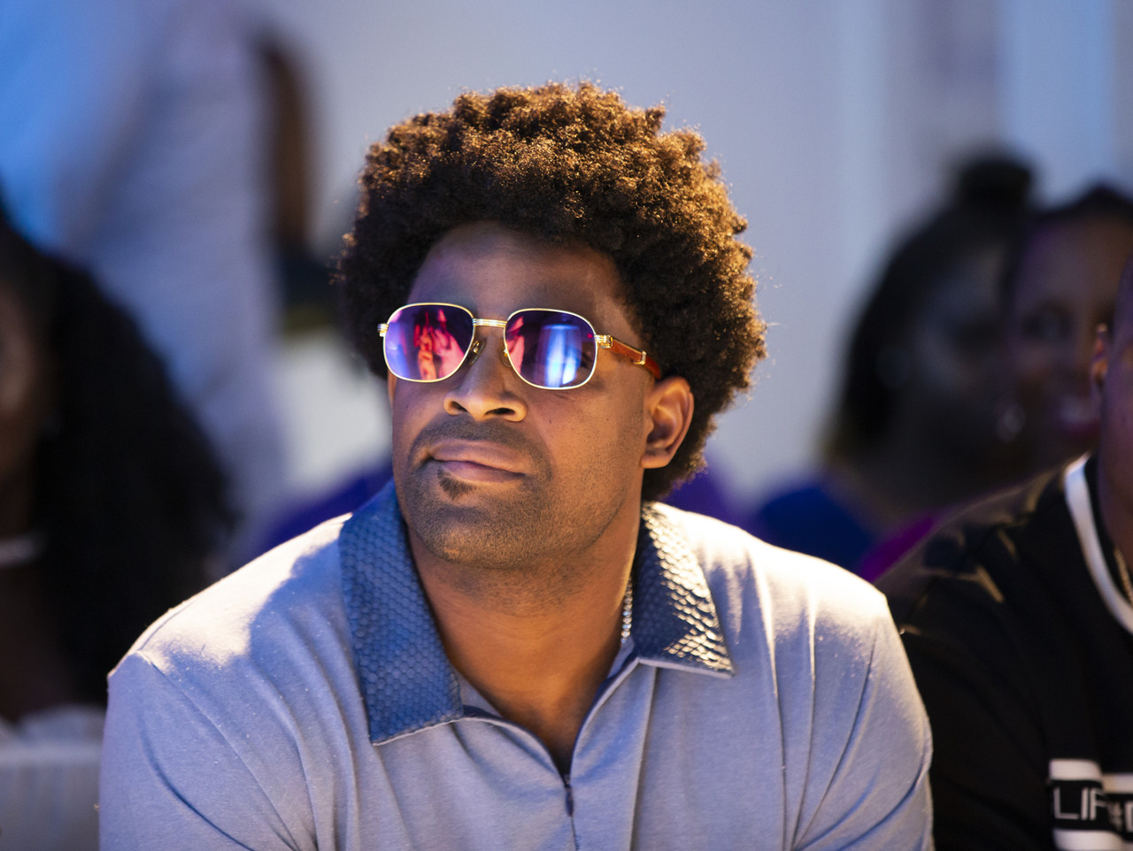 Host and Baltimore Ravens wide receiver Michael Crabtree looks on during the Fashion Blink show on Saturday, June 9, 2018 in Dallas.