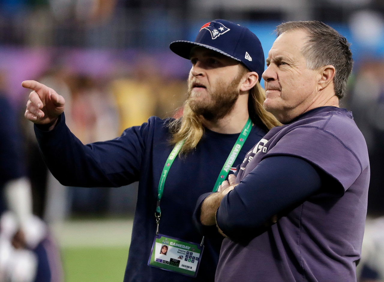 Bill Belichick has been head coach of the New England Patriots since 2000. His son Stephen Belichick started as a New England Patriots coaching assistant in 2012 before becoming a safeties coach in 2016.