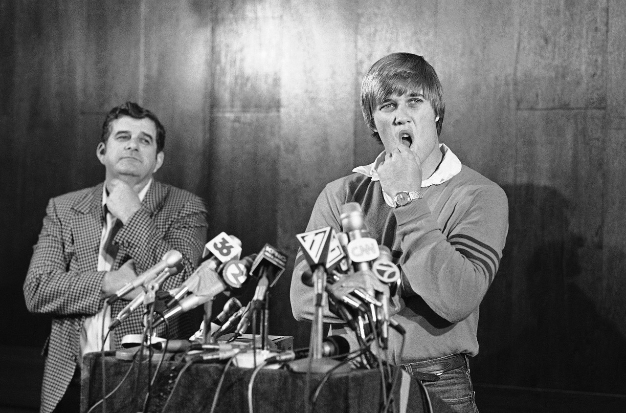 Stanford quarterback John Elway announced that he'll play baseball for the New York Yankees rather than sign with the Baltimore Colts as the top draft choice of the National Football League, during a press conference in afternoon on Tuesday, April 26, 1983 in San Jose, California. Elway is rated by NFL scouts as perhaps the best ever passing prospect coming out of college.