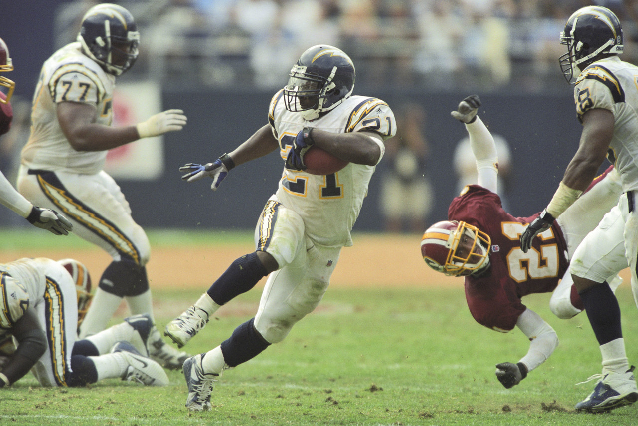 09 September 2001: San Diego Chargers running back LaDainian Tomlinson during a National Football League game against the Washington Redskins at Qualcomm Stadium in San Diego, CA.