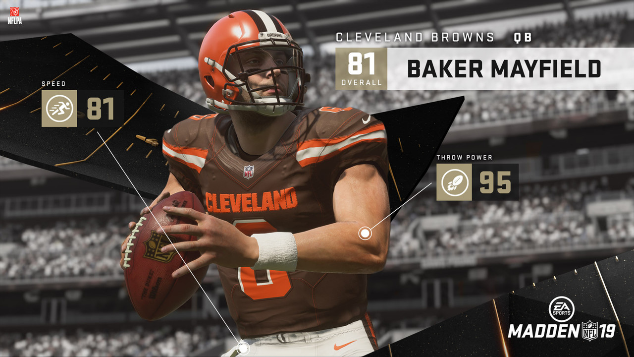 No. 1: Baker Mayfield, Cleveland Browns - 81 OVR<br><br> No. 2: Lamar Jackson, Baltimore Ravens - 79 OVR<br><br> No. 3: Josh Rosen, Arizona Cardinals - 78 OVR<br><br> No. 4: Sam Darnold, New York Jets - 75 OVR<br><br> No. 5: Josh Allen, Buffalo Bills - 74 OVR<br><br>  <a href='https://www.easports.com/madden-nfl/news/2018/top-5-rookie-qbs' target='_blank'>See how Madden came up with the ratings</a>