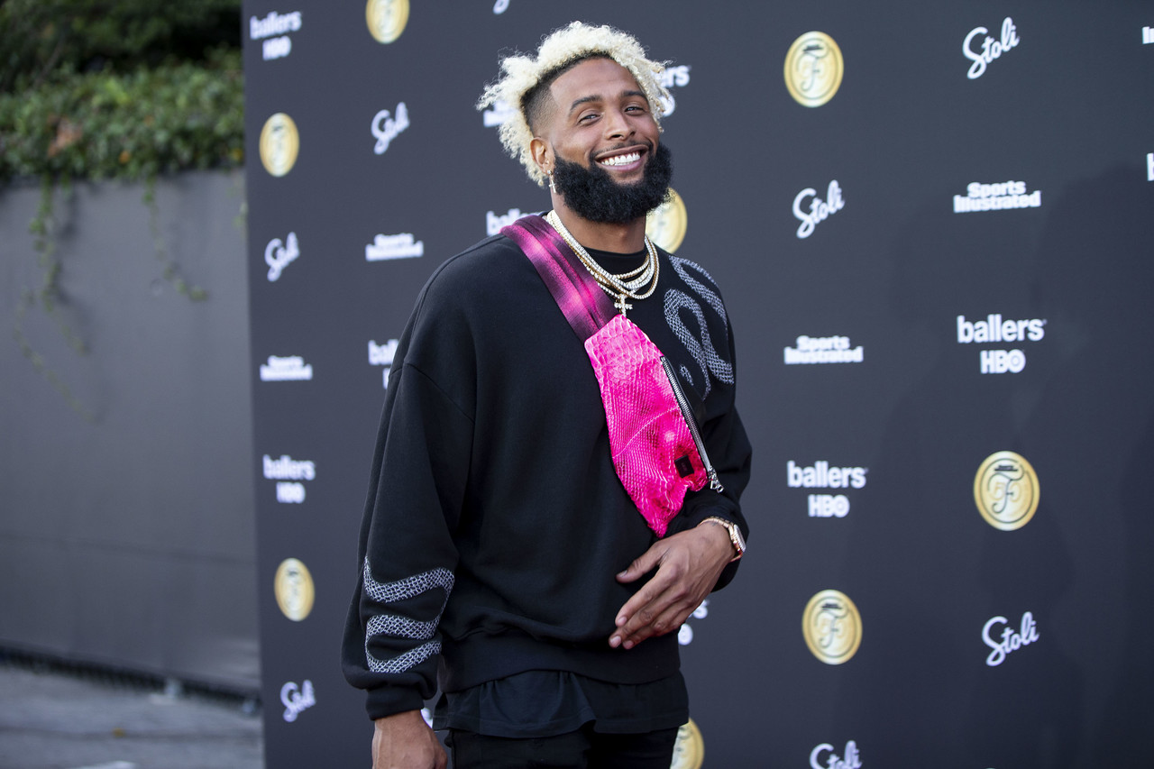 New York Giants wide receiver Odell Beckham Jr. (13) appears on the red carpet for Sports Illustrated's Fashionable 50 launch party on Thursday, July 12, 2018 in Los Angeles.