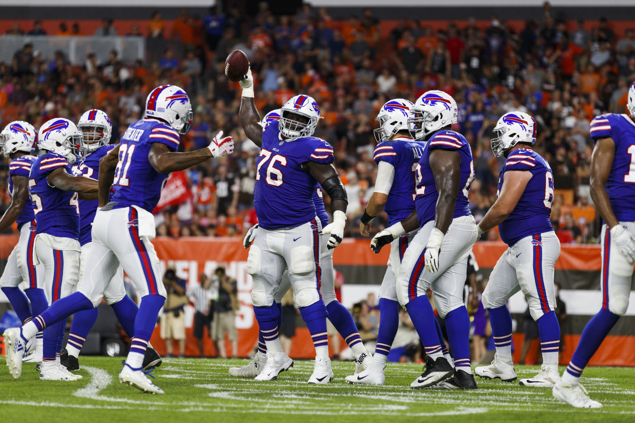 Buffalo Bills offensive guard John Miller (76) spikes the football during an NFL preseason football game against the Cleveland Browns, Friday, Aug. 17, 2018, in Cleveland. The Bills defeated the Browns, 19-17. (Ryan Kang/NFL)
