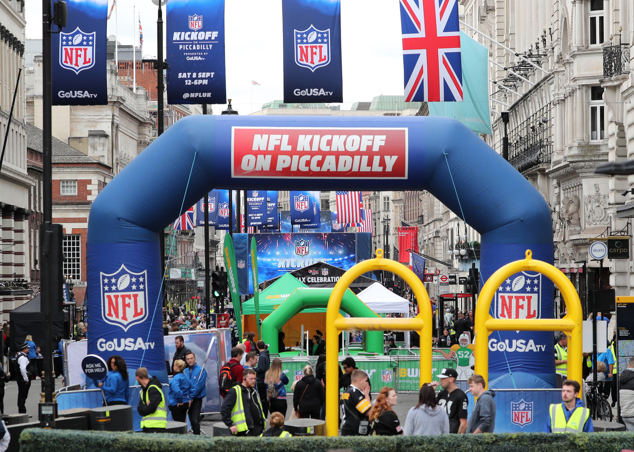 London's Piccadilly is shut down to traffic to celebrate the start of the NFL season with NFL Kickoff on Piccadilly.