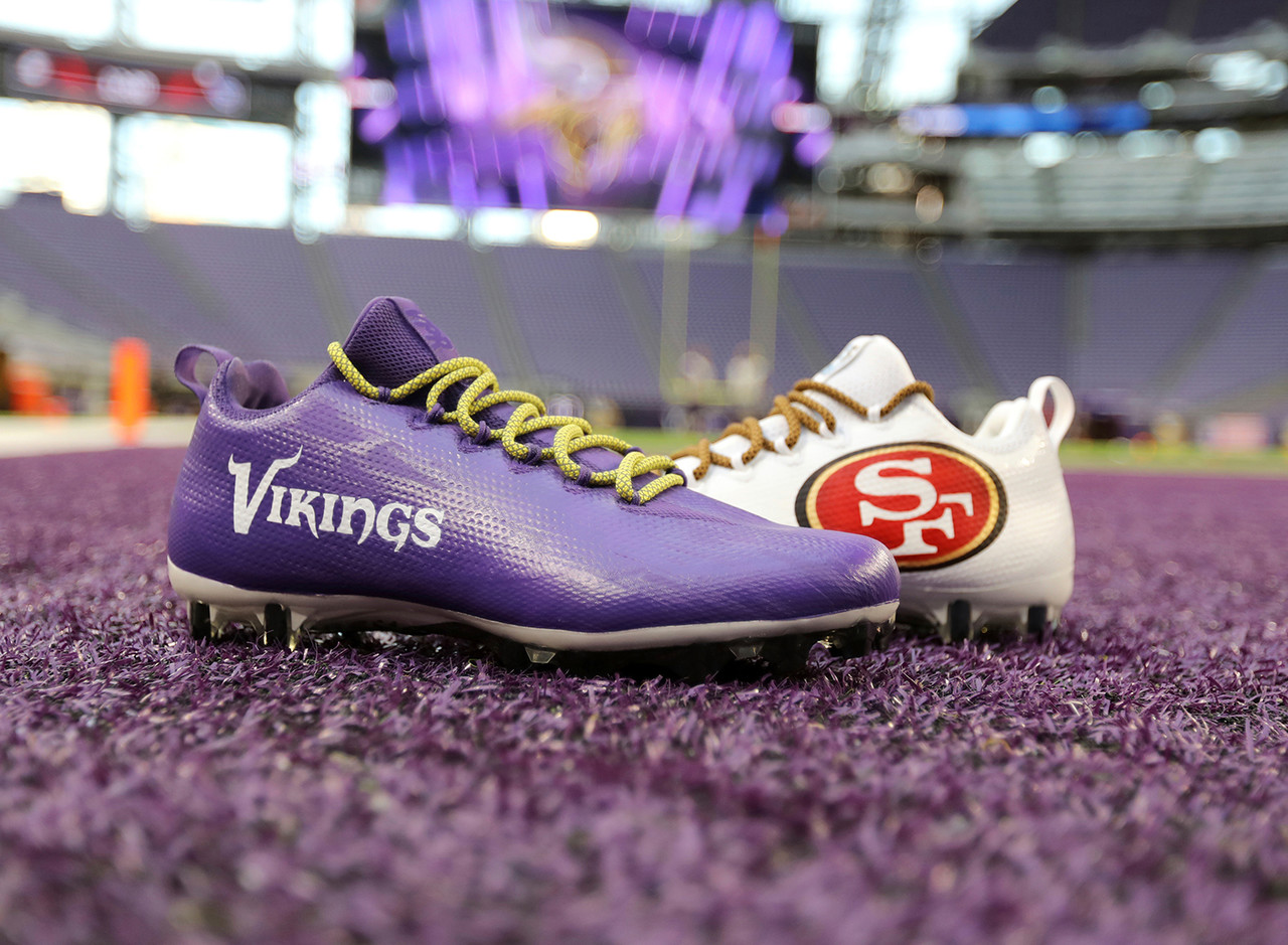 Minnesota Vikings and San Francisco 49ers cleats are seen during an NFL football game, Sunday, Sept. 9, 2018 in Minneapolis.