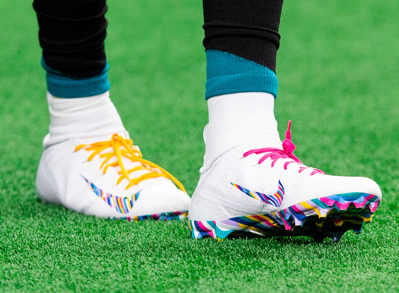 A detail view of a player's Crucial Catch cleats prior to an NFL football game between the Jacksonville Jaguars and the Dallas Cowboys, Sunday, Oct. 14, 2018 in Arlington, Texas.