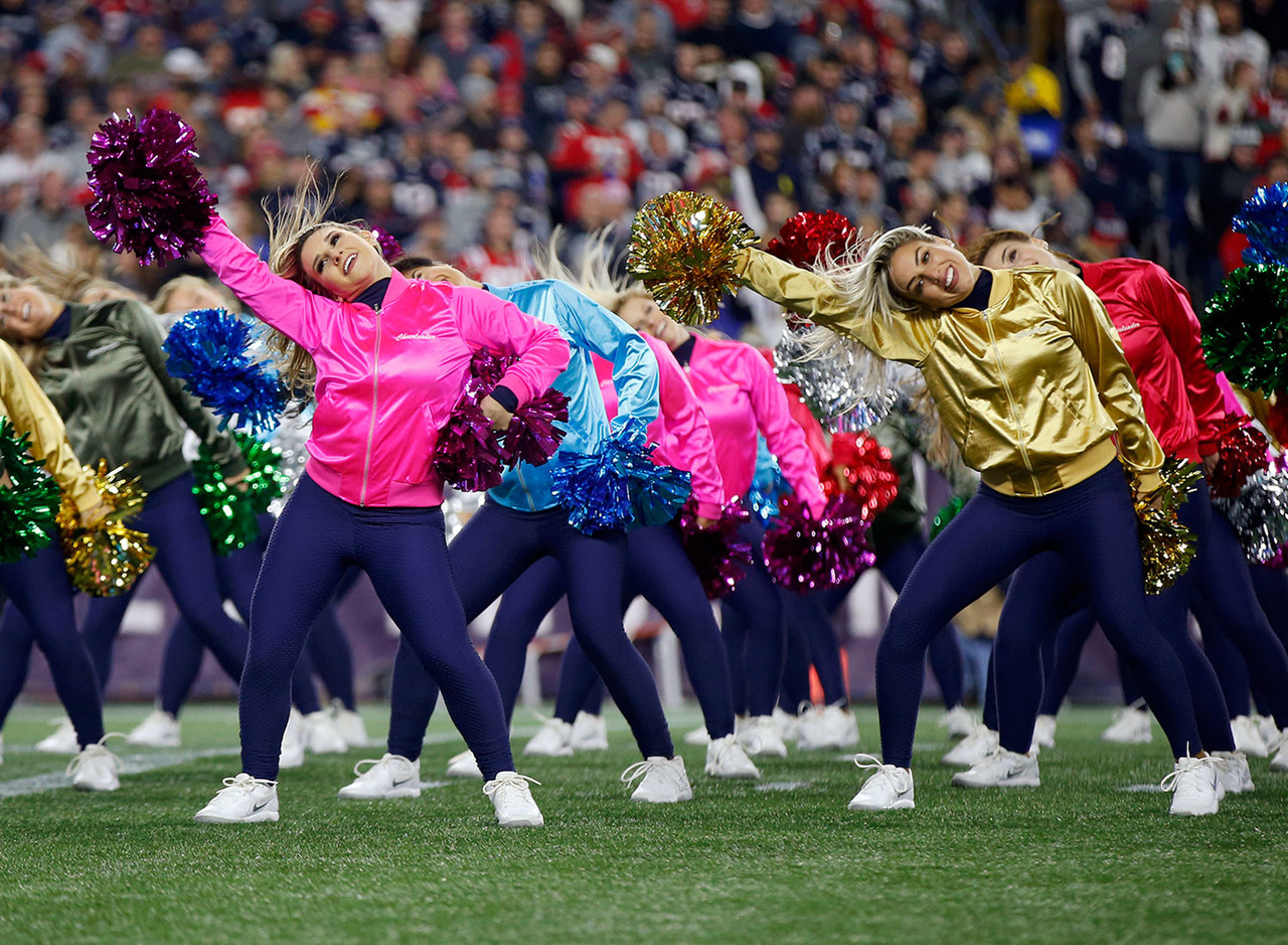 New England Patriots cheerleaders perform during the first half of an NFL football game between the Patriots and the Kansas City Chiefs, Sunday, Oct. 14, 2018, in Foxborough, Mass.