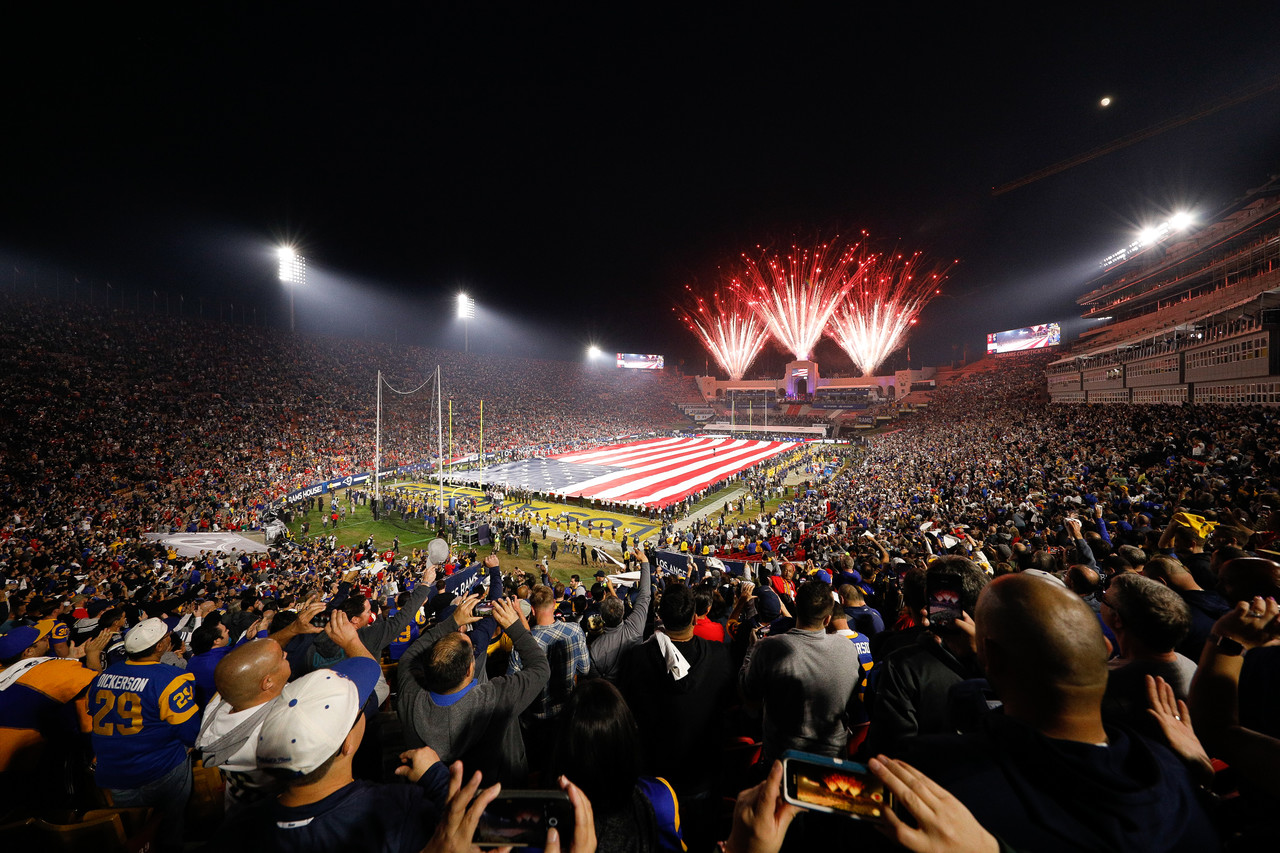 e02613a14 A general view of Los Angeles Memorial Coliseum during the playing of the  national anthem prior