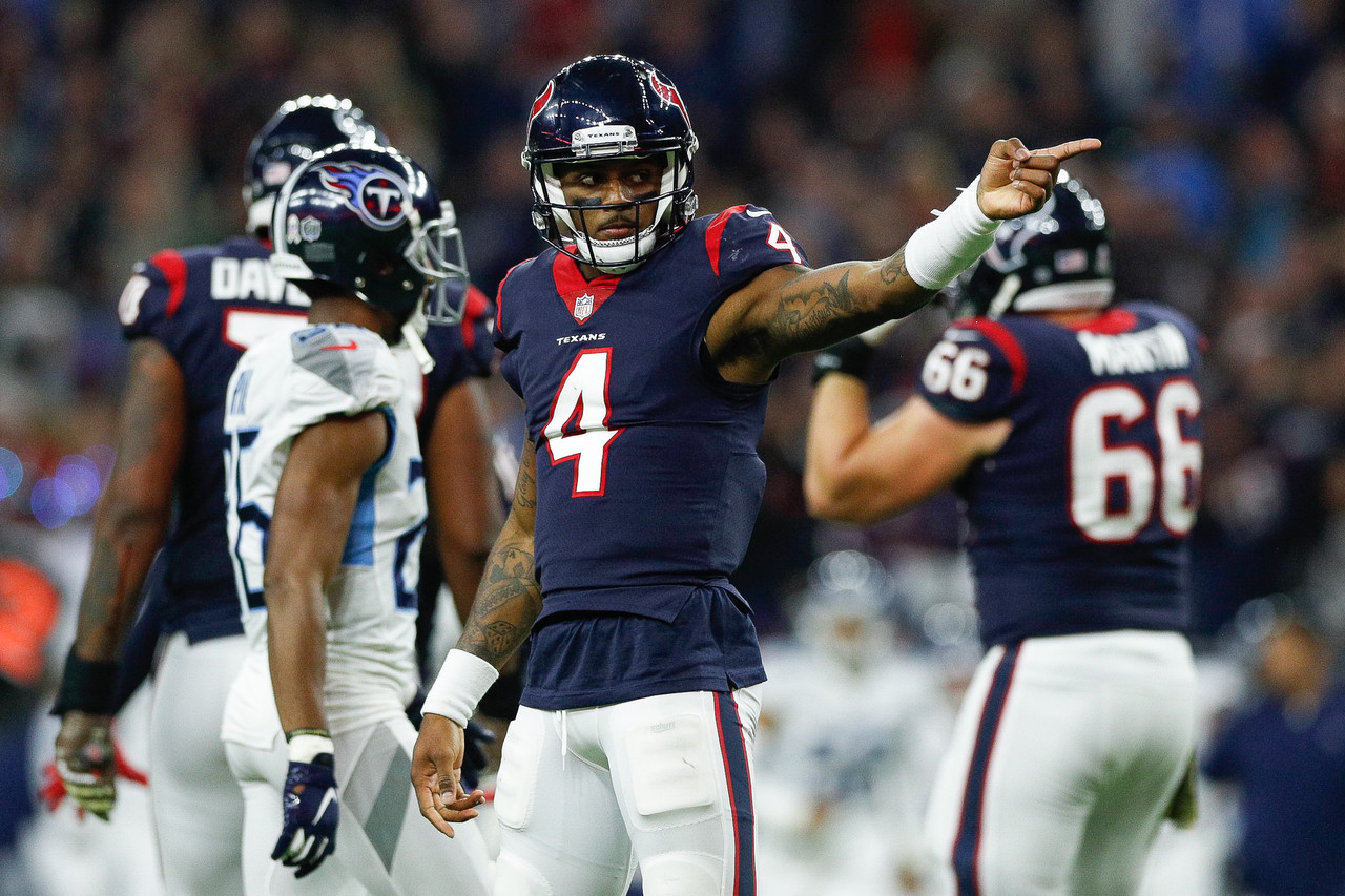 Houston Texans quarterback Deshaun Watson (4) celebrates after a first down  during an NFL d239233f7
