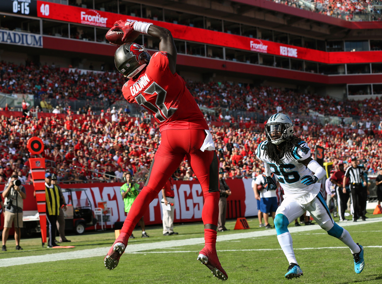 Obviously, Godwin should be on rosters in most competitive leagues -- but he still may be floating on the wire in shallow 10-team formats. Without DeSean Jackson (thumb) in Week 13, Godwin proceeded to rip the Panthers secondary for 5/101/1. Unsurprisingly, Godwin's 80 percent snap rate was a season-high. While Jackson was wearing a cast in practice all last week, Godwin will remain a high-end WR3 for as long as Jackson is out. Over the full season, Godwin is 23rd-of-93 in yards gained per route run per PFF.