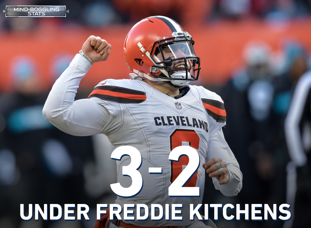 Not only is Baker Mayfield 3-2 in five starts under new offensive coordinator Freddie Kitchens, he has been one of the NFL's most efficient quarterbacks since the Browns coaching shakeup in Week 9. In that time, Mayfield ranks third in completion percentage (73.2), first in yards per pass attempt (9.2), and third in passer rating (114.4) among QBs to make at least four starts.