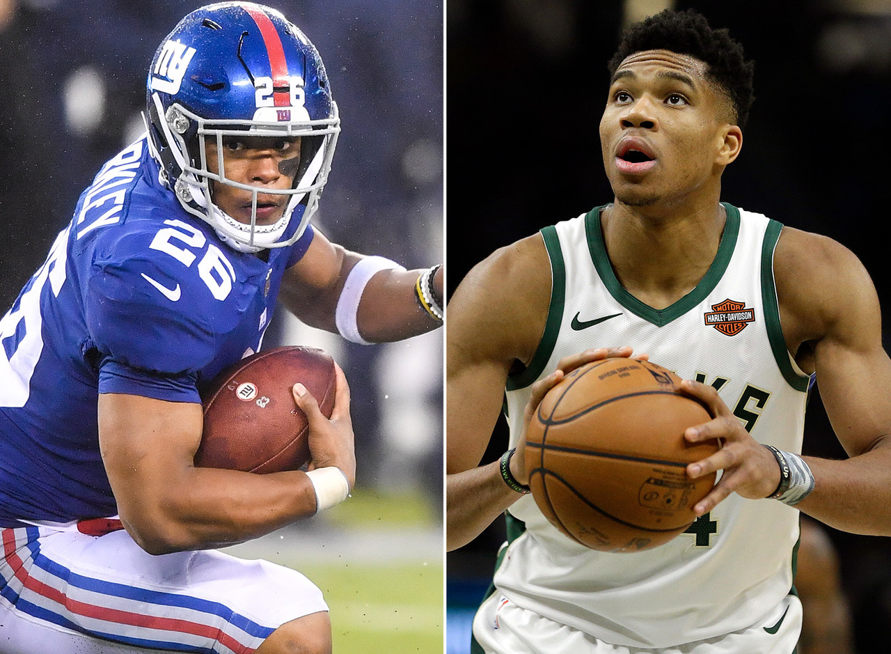 "The thing that sticks out to me the most about this pair is that both are freakish athletes. Barkley obviously has the legs that have earned him the nickname ""Saquad"" amongst NFL fans. And Giannis has this incredible wingspan that makes it look like he could stand at center court and shake hands with fans on opposite sidelines. A quick aside: Giannis was selected 15th overall in the 2013 NBA Draft. The same year Cleveland took Anthony Bennett first overall. Could you imagine where the Cavs would be right now if they had drafted and traded away <i>Giannis</i> instead of Bennett and 2014 first overall pick Andrew Wiggins to make way for LeBron's return? (Answer: They'd still be one of the worst teams in the league, but their fans would be that much sadder.)"