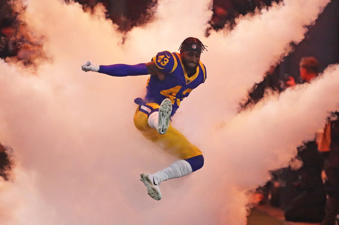 Los Angeles Rams strong safety John Johnson (43) runs onto the field prior to an NFL divisional football playoff game against the Dallas Cowboys.